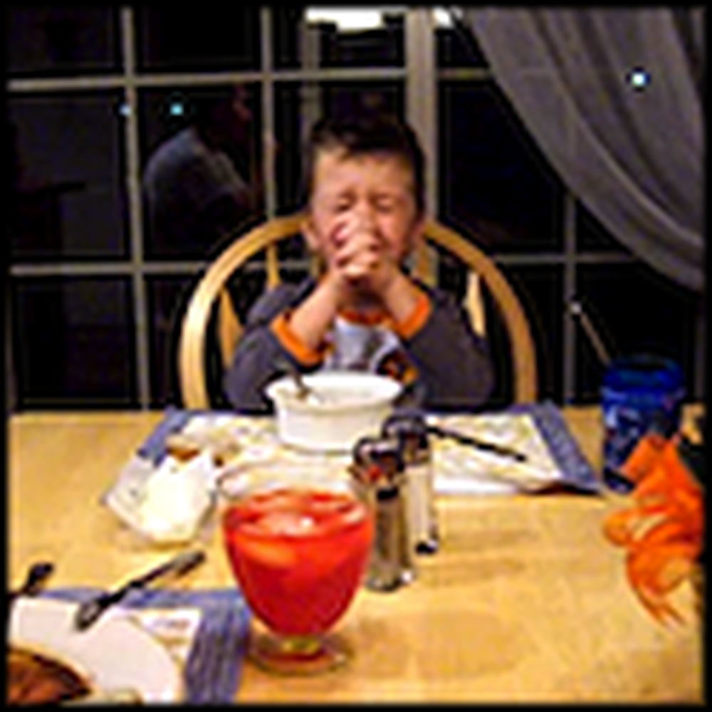 Adorable Little Boy Sings Grace at the Dinner Table