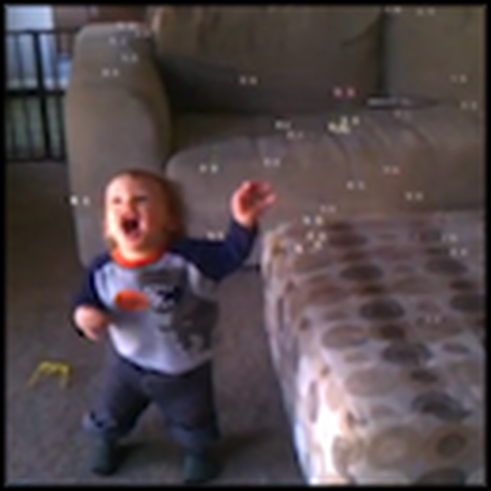 Happy Little Boy Sees Bubbles for the First Time