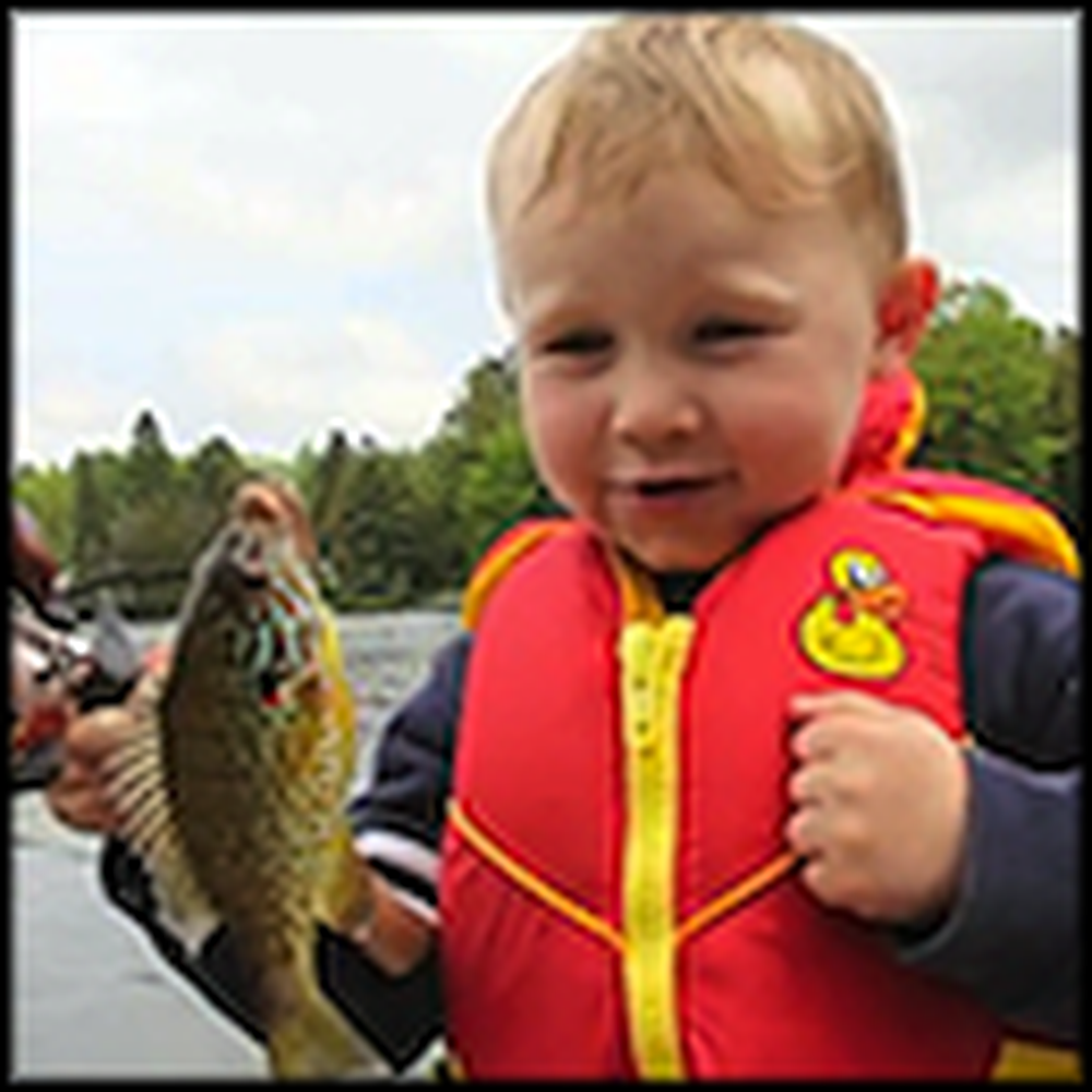 Little Boy's Adorable Reaction to Catching his First Fish