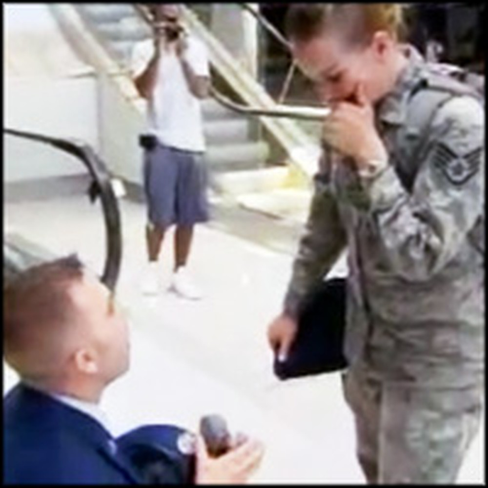 Airman Surprises and Proposes to His Soldier Girlfriend