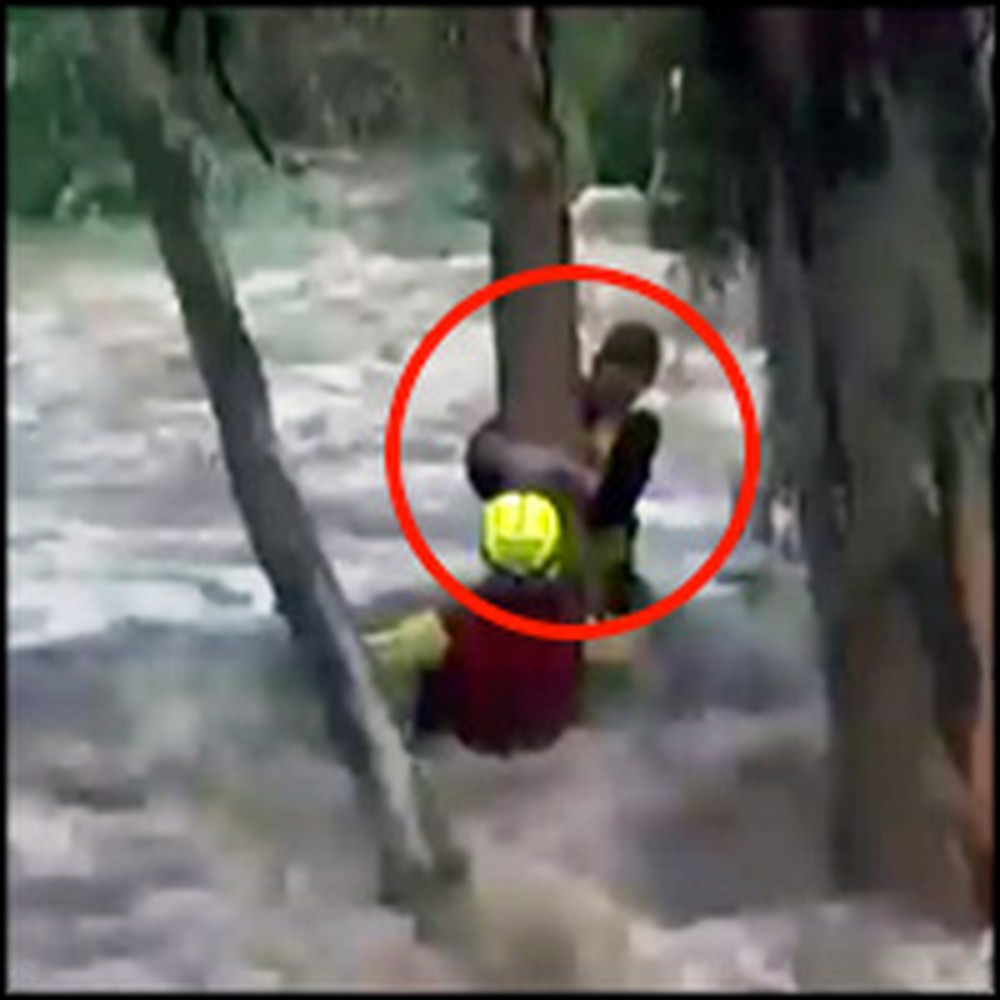 Boy Trapped by Violent Flood Waters Gets Rescued Just in Time