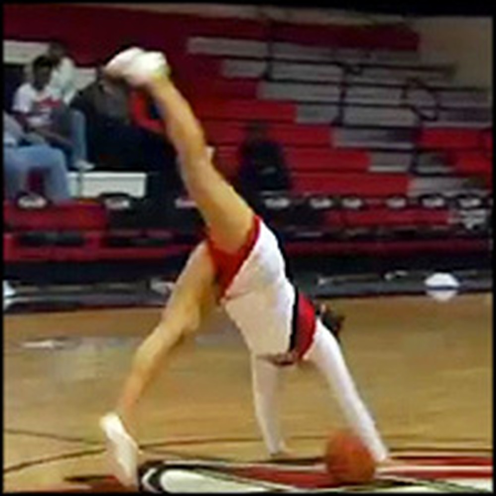 Cheerleader Makes the Coolest Trick Shot of All Time