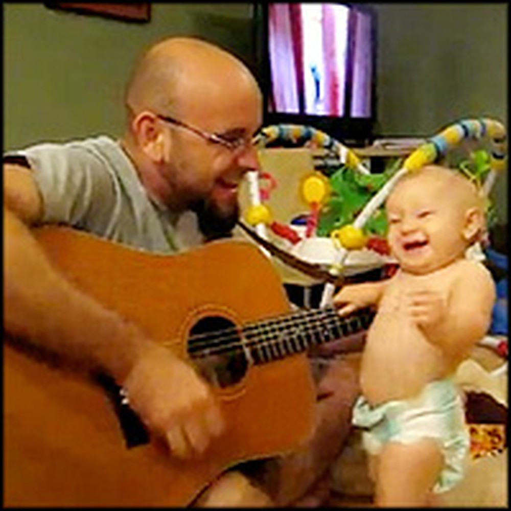 Adorable Baby Loves Rock 'n Roll Music