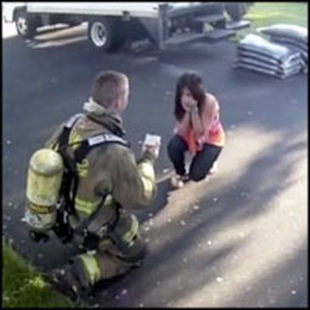 Firefighter Completely Surprises His Girlfriend With a Great Proposal
