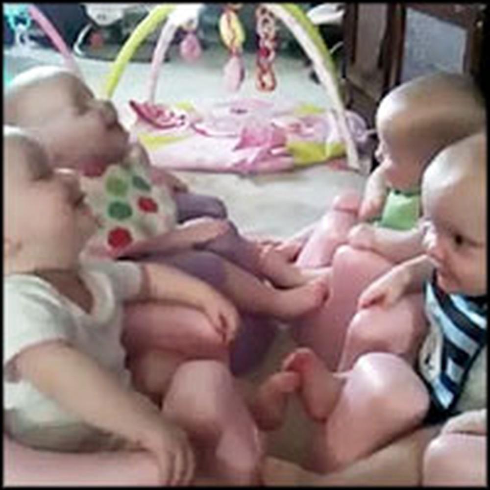 Newborn Quadruplets Laugh Joyfully at Each Other