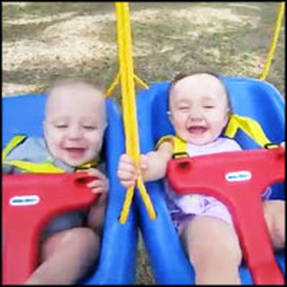 Sweet Twins Have the Happiest Giggle When Swinging