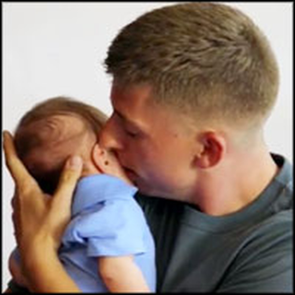 Priceless Moment a Soldier Dad Meets His Baby for the First Time