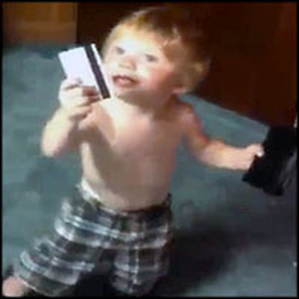 Baby Does the Funniest Thing with His Dad's Wallet