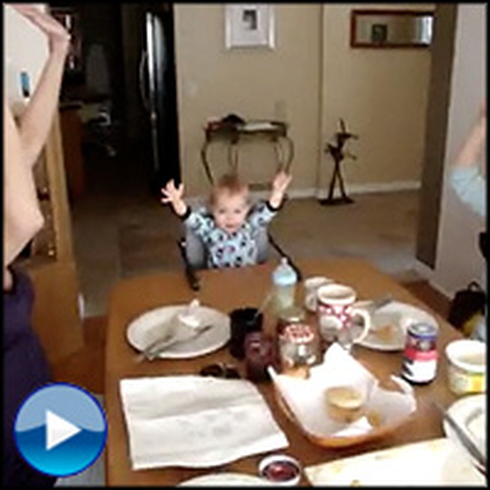 Adorable Baby Boy Leads His Family in Praise at the Dinner Table