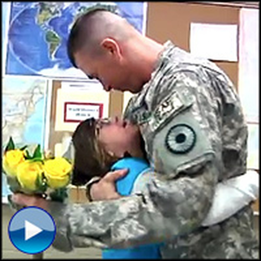 Soldier Surprises His Daughters at School - Their Reaction is Priceless