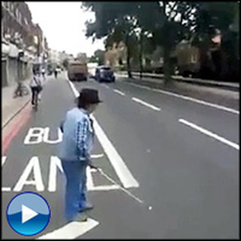 Guardian Angel Cyclist Saves Blind Man From Walking Into Traffic