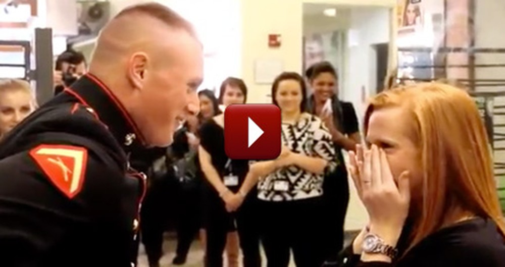 Loving Marine Surprises His Girl at Work - Such a Heartwarming Surprise