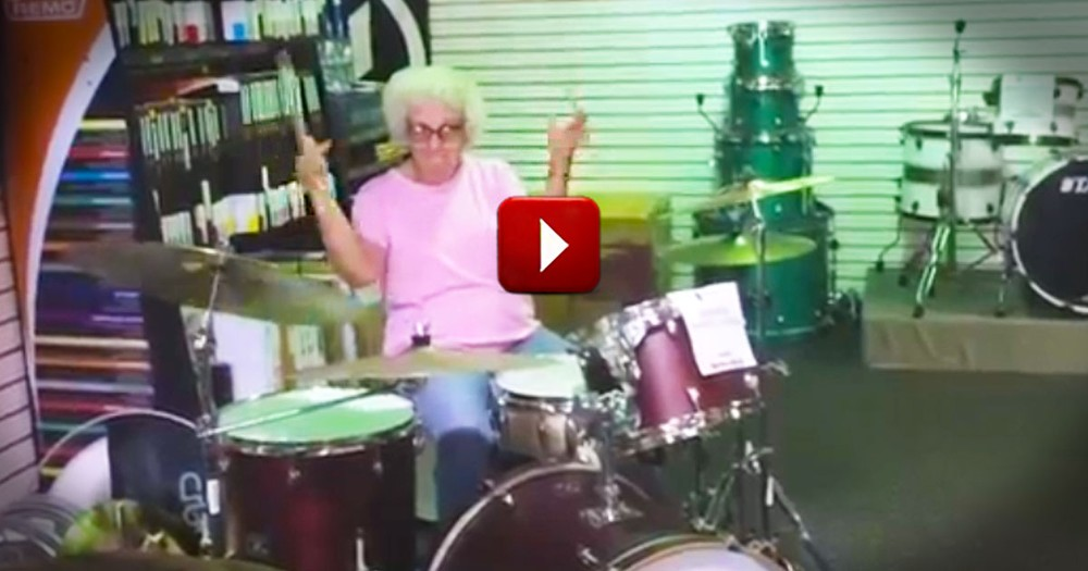 Granny Stuns Music Shop with Drum Skills