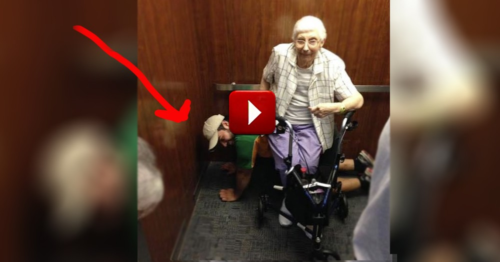 A Thoughtful Young Man Becomes a Human Chair for an Elderly Lady!