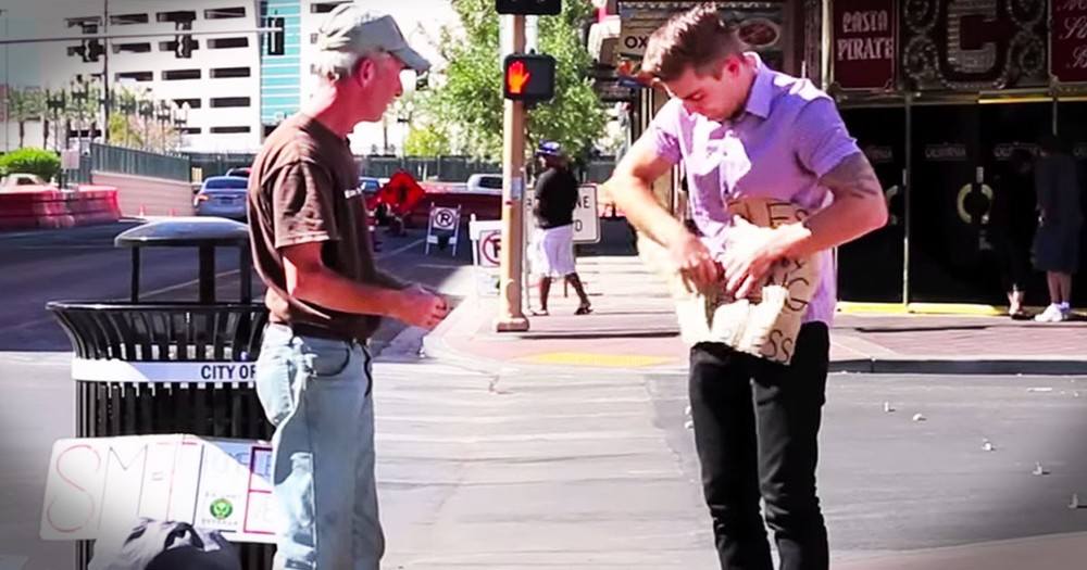 When This Guy Ripped Up A Poor Homeless Man's Sign I Was Shocked. Then I Found Out WHY!