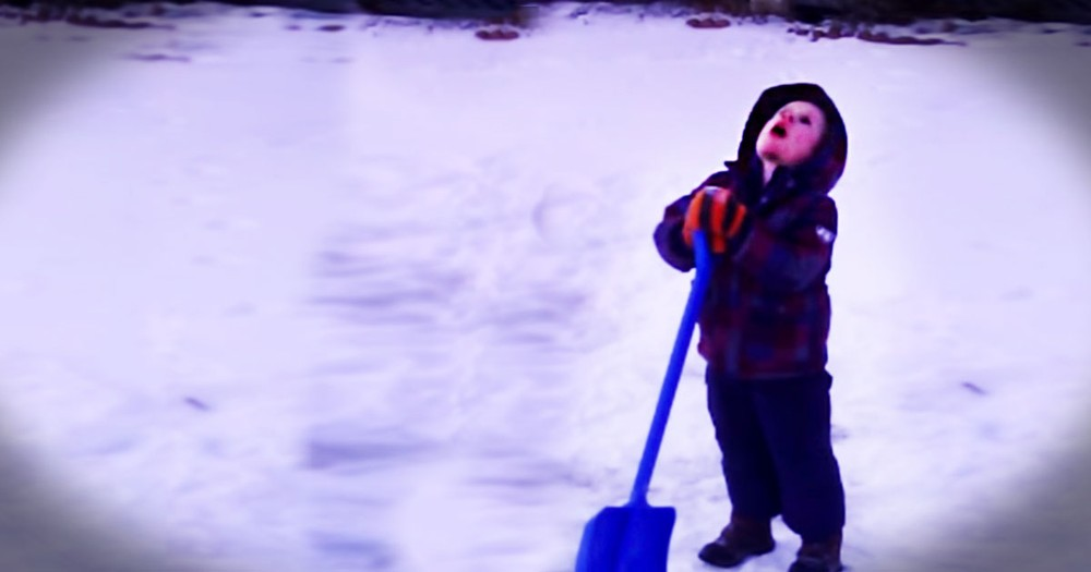 After 10 Minutes of Shoveling Snow, This Little Boy Had Enough - So Funny