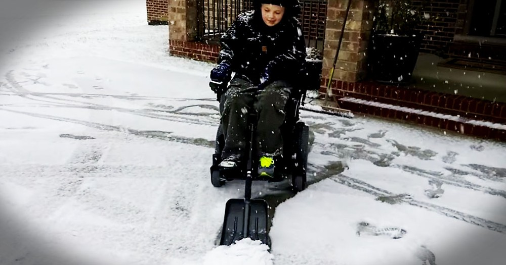 Little Boy In Wheelchair Helps Brother Shovel Snow In Coolest Way