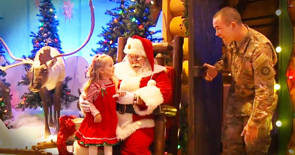 Santa Grants A Big Wish For A Little Girl And Brings Home Her Soldier Daddy