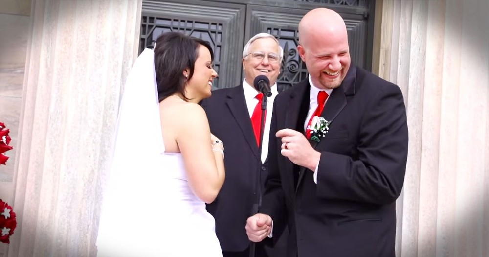 Bride And Groom's Funny First Kiss