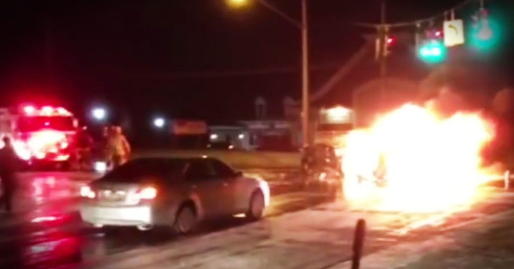2 Strangers Save A Mom And 4 Kids From A Fiery Crash!