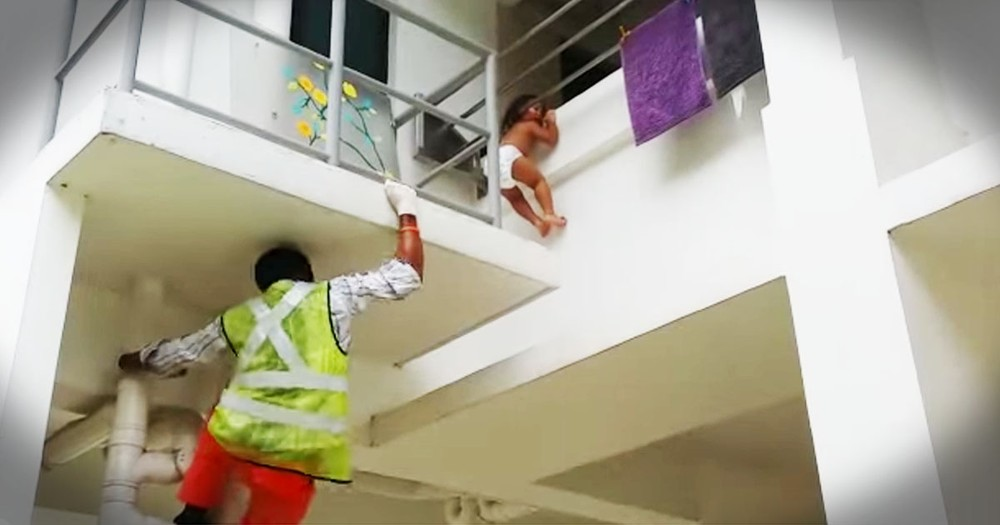 Baby Was Dangling On Death's Edge Until A Construction Worker Showed Up!