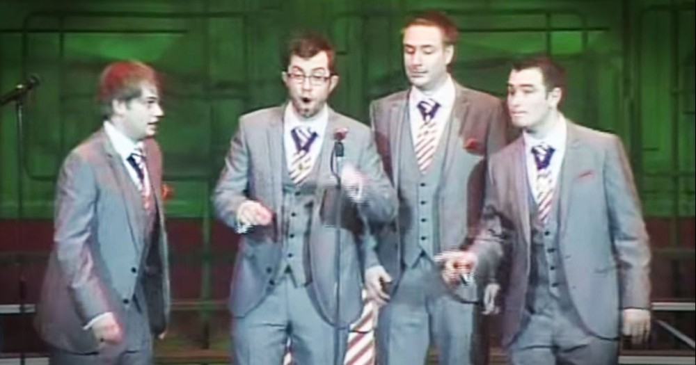 Amazing Barbershop Quartet Mashup Of Songs Thru The Ages!