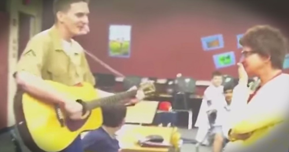 Marine Surprises His Mom at Work and Sings to Her