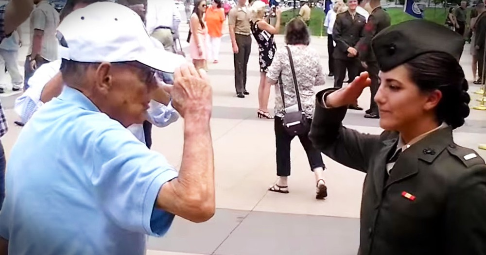 Grandpa Gave Her First Salute, And Then Asked For THIS--Aww!