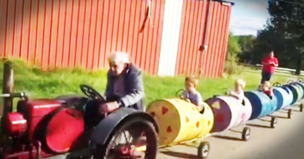 94-Year-Old Great Grandpa Makes Adorable Tractor Train For His Grandkids