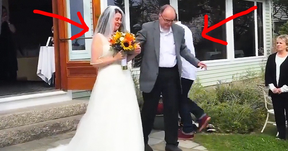 Dad Surprises Daughter By Standing To Walk Her Down The Aisle