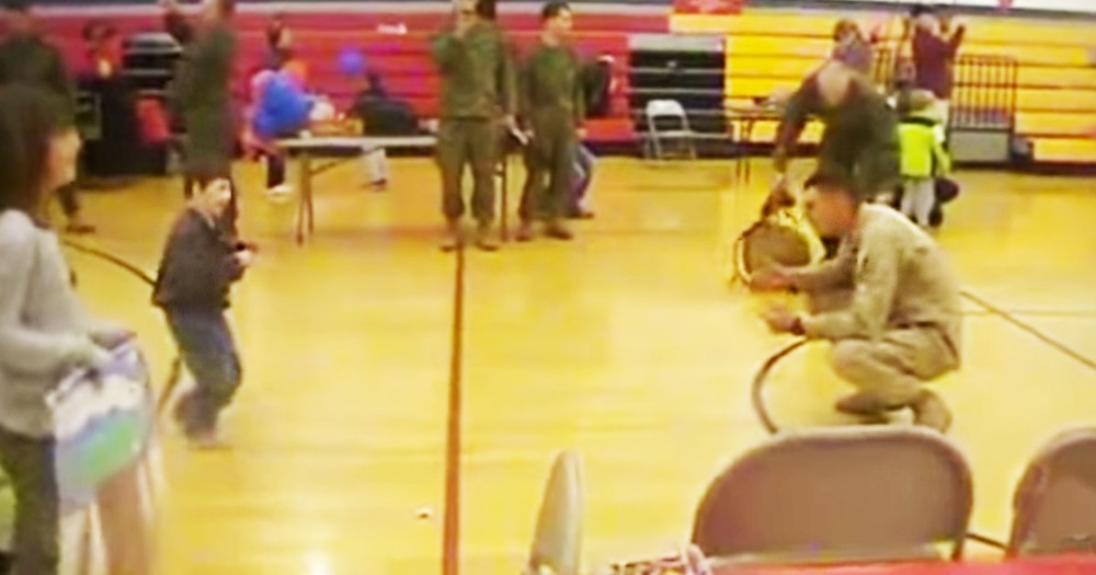 6 Year Old Boy with Cerebral Palsy Walks to his Marine Father