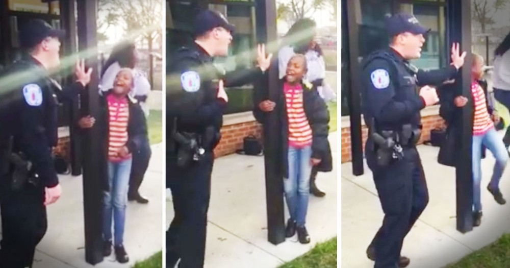 Police Officer's Sweet Moment With These Little Girls Made Me Smile