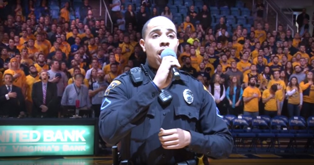 Officer's Last Minute National Anthem Stuns The Crowd