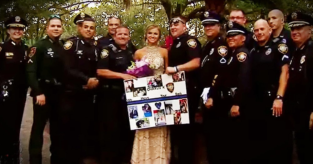 Fallen Officer's Daughter Escorted To Prom By Officers
