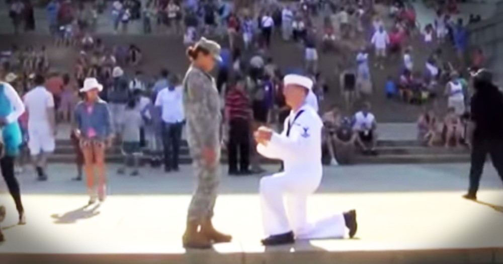 July 4th Sailor And Soldier Proposal Perfectly Patriotic