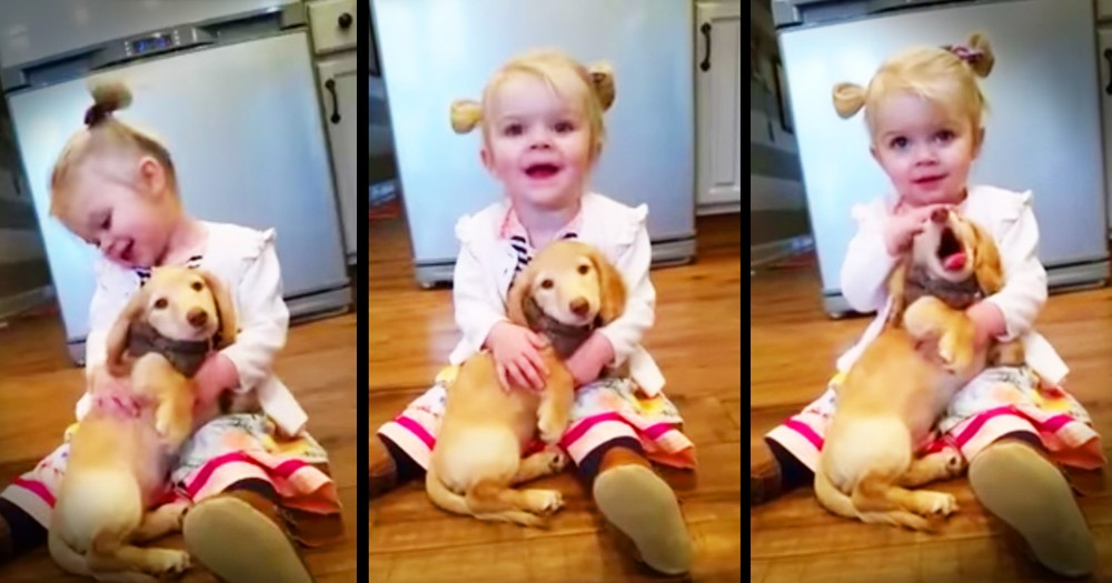 Little Girl And Puppy Share Precious Snuggles