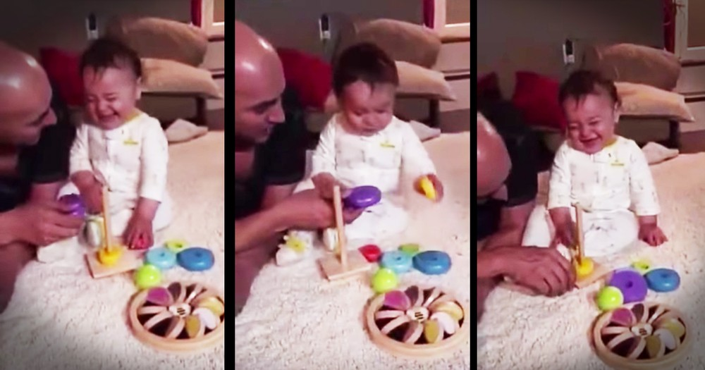 Baby Thinks His Toy Is Too Funny