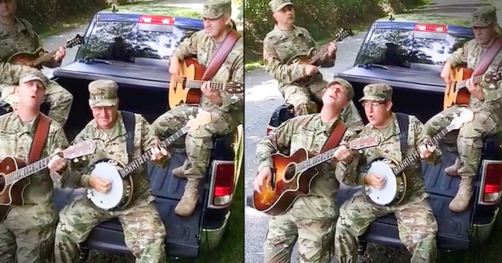 4 Soldiers Perform John Denver's 'Country Roads' In The Back Of A Pickup Truck