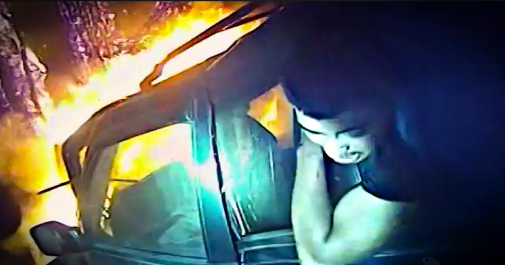 Terrifying Bodycam Footage Of A Police Officer Rescuing A Man From A Burning Car