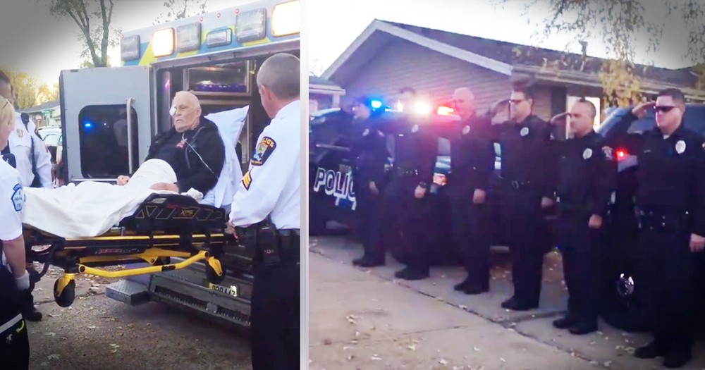 Retired Officer Gets Touching Salute As He Enters Hospice