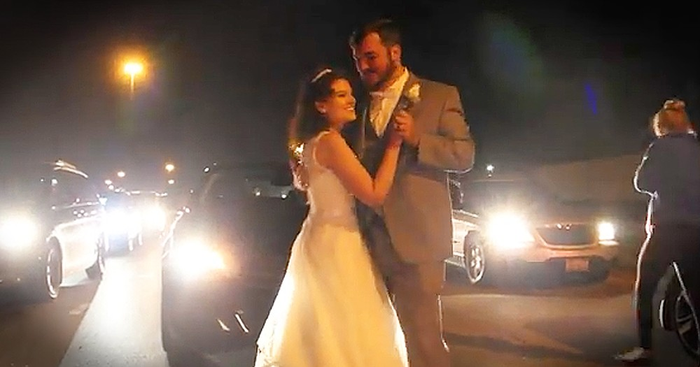 Bride And Groom Share Their First Dance On The Freeway During Traffic Jam
