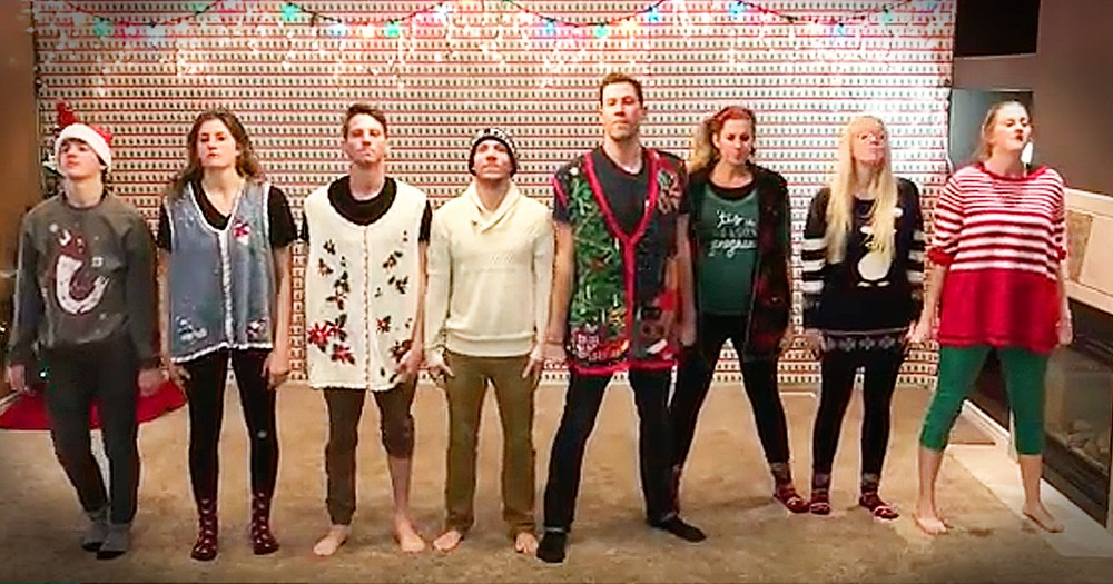 Family Of 8 Wear Mom's Christmas Sweaters For Hilarious Choreographed Dance