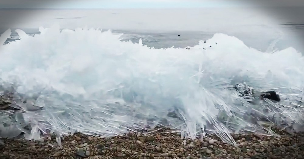 Waves Freezing As They Hit The Shore Is Mesmerizing