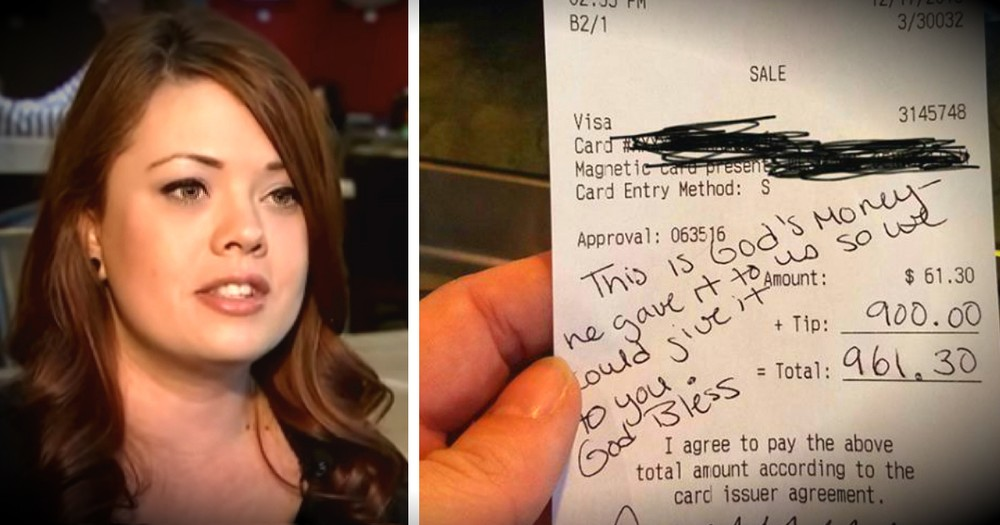 Pregnant Waitress Cries When She Sees $900 Tip Left By Customer