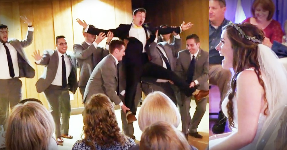Groom Puts Down The Mic And His Groomsmen Join Him For A Hilariously Adorable Surprise
