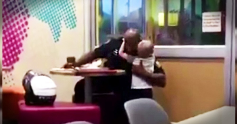 Very Shy 3-Year-Old Musters Up The Courage To Hug A Police Officer
