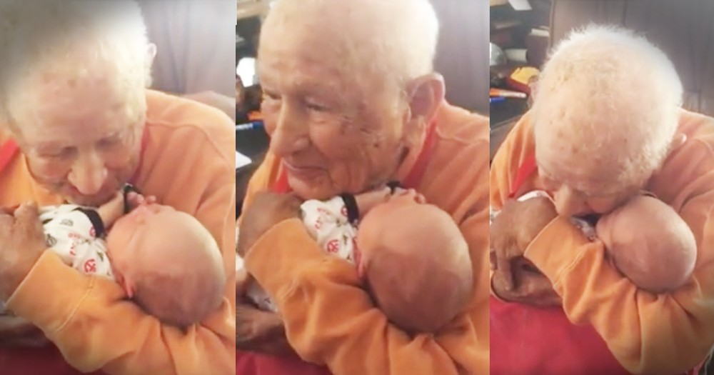 105-Year-Old Meeting His 5-Day-Old Great Grandson Will Bring The Tears