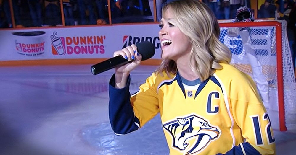 Carrie Underwood Sings The National Anthem For Husband's Team