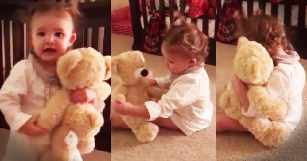 Excited Little Girl Hears Her Deployed Dad's Voice In Teddy Bear