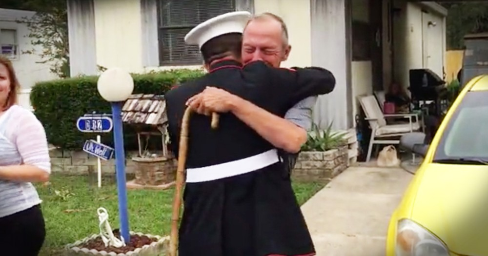Grandfather Gets Unexpected Visit From Marine Grandson